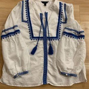 JCrew embroidered linen tassel shirt